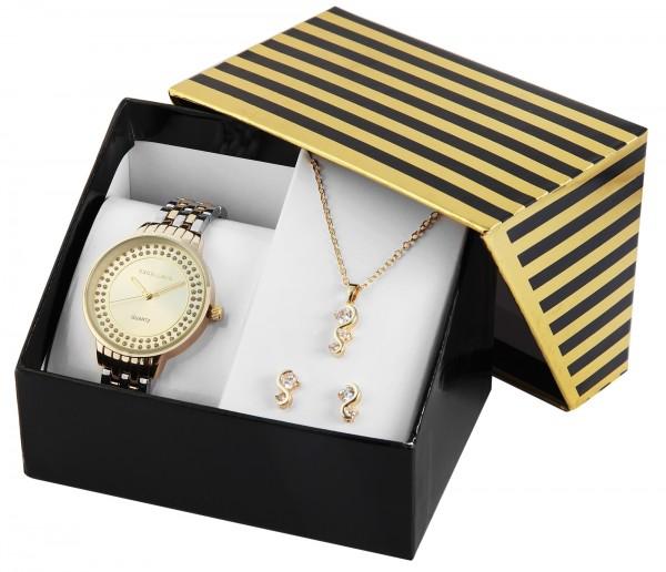 Excellanc Damen - Geschenkset Damenuhr Metallband mit Halskette und Ohrsteckern 1800189