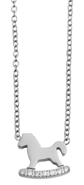 Akzent Damen - Halskette Pferd Anhänger Edelstahl Ankerkette 43+5cm 5010271