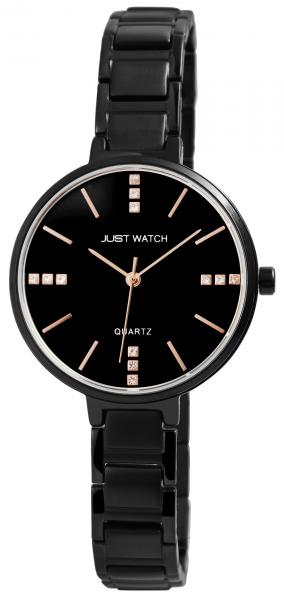 Just Watch Damen-Uhr Edelstahl Gliederarmband Strass-Steine Analog Quarz JW10087