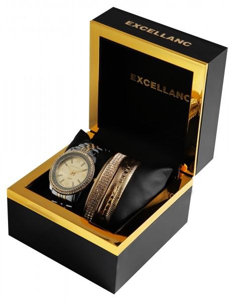 Excellanc Geschenkset mit Damenuhr mit modischen Armreifen 1800180