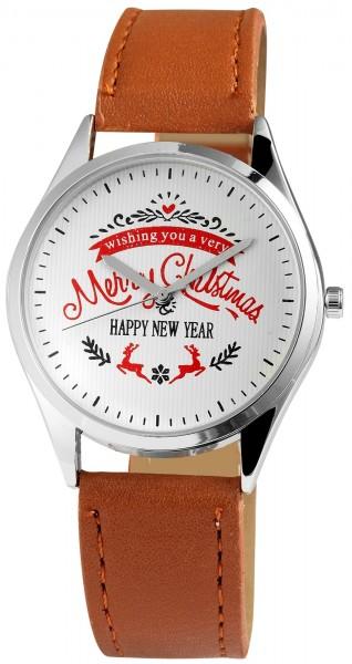 Excellanc Damen-Uhr Lederimitat Christmas Dornschließe Analog Quarz 1900095