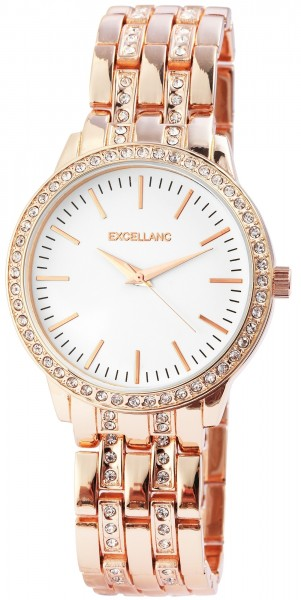 Excellanc Damen-Uhr Metallarmband Faltschließe Strass-Steine Analog Quarz 1800067