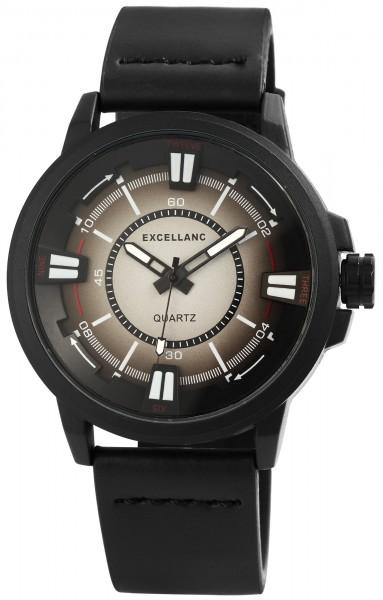 Excellanc Herren-Uhr Lederimitat Dornschließe Leuchtzeiger Analog Quarz 2900084