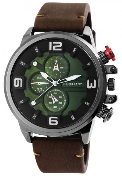 Excellanc Herren-Uhr Lederimitat Dornschließe Leuchtzeiger Analog Quarz 2900159