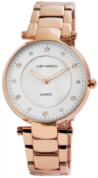 Just Watch Damen-Uhr Edelstahl Leuchtende Zeiger Strass Analog Quarz JW10058