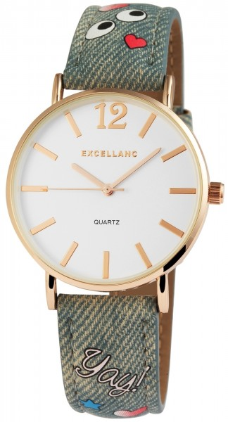 Excellanc Damen – Uhr Lederimitationsarmband Strass Steine Analog Quarz 1900012