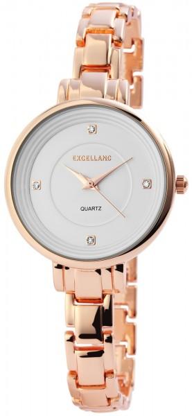 Excellanc Damen-Uhr Metallarmband Clipverschluss Strass Analog Quarz 1800089