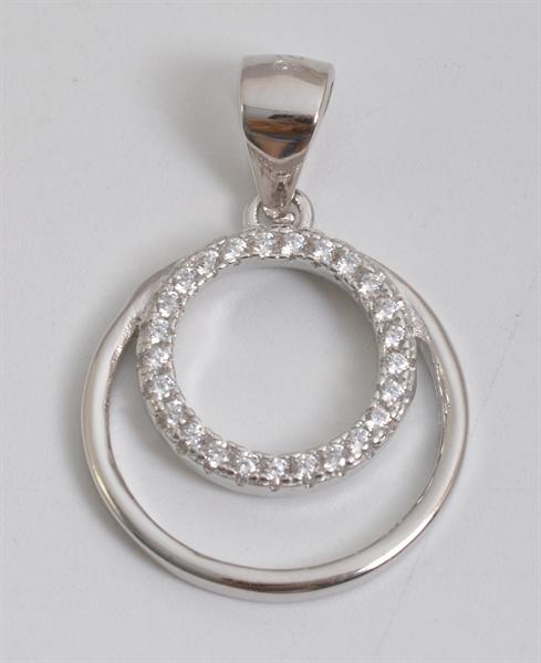 Giulia Luna Damen-Halskette Anhänger Kreis Rund Strass 925er Silber GL5210046