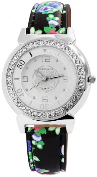 Excellanc Damen-Uhr Lederimitat Dornschließe Strass Analog Quarz 1900178