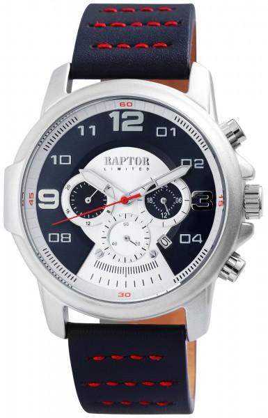 Raptor Limited Herren-Uhr Echt Leder Chronograph Leuchtzeiger Analog Quarz RA20281