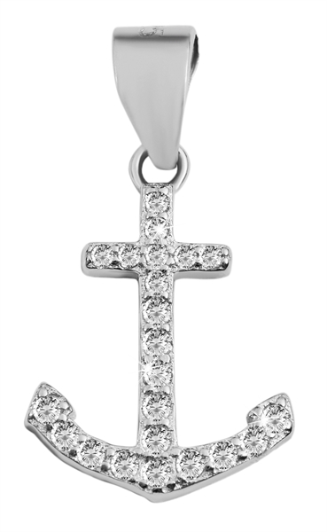 Giulia Luna-Halskette Anhänger Anker Maritim 925er Silber Strass GL5210095
