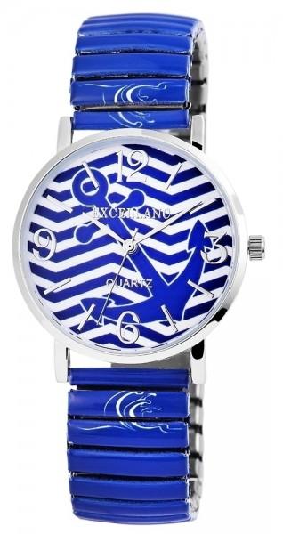 Excellanc Damen – Uhr Maritim Zugband Metall Armbanduhr Analog Quarz 1700006
