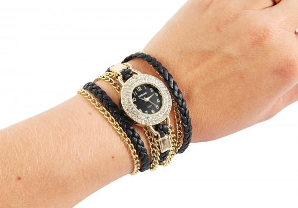 Excellanc Damen-Uhr Wickelarmband Metall Lederimitat Strass Analog Quarz 1900181