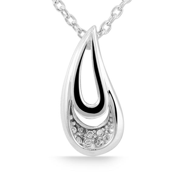Giulia Luna Damen-Halskette Anhänger Tropfen 925er Silber Strass GL5210002