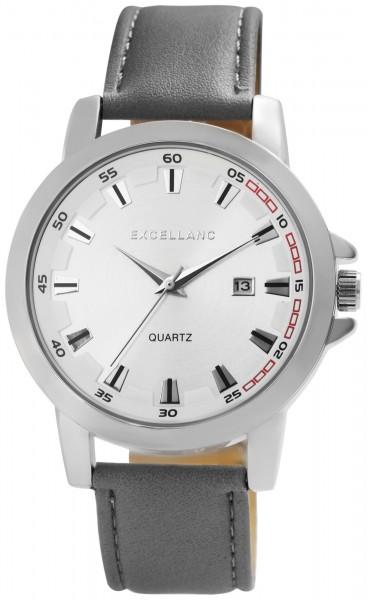 Excellanc Herren-Uhr Lederimitat Dornschließe Datum Analog Quarz 2900179