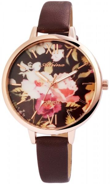 Adrina Damen – Uhr Lederimitat Armbanduhr Natur Motiv Analog Quarz 1900139-001