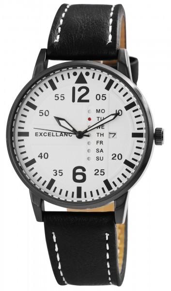 Excellanc Herren-Uhr Lederimitat Datum Wochentag Leuchtzeiger Quarz 2900160