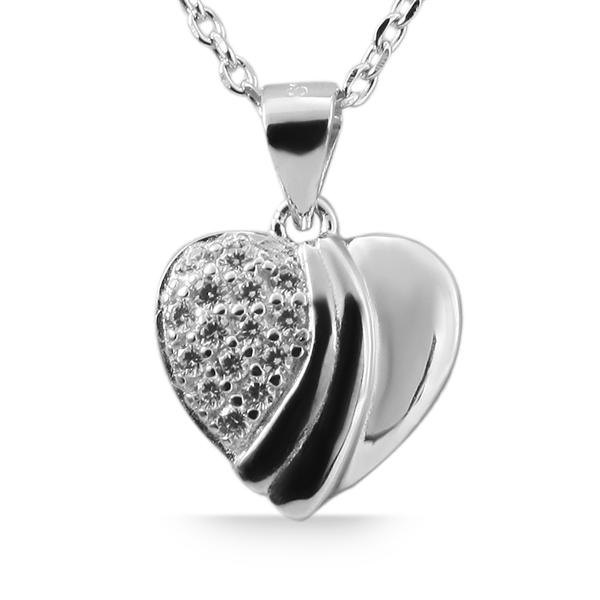 Giulia Luna Damen-Halskette Anhänger Herz Liebe 925er Silber Strass GL5210014