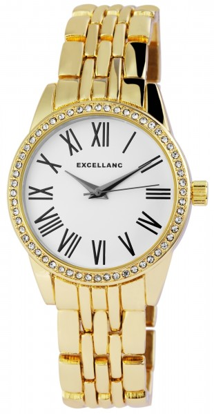 Excellanc Damen-Uhr Gliederarmband Metall Strass Faltschließe Analog Quarz 1800166
