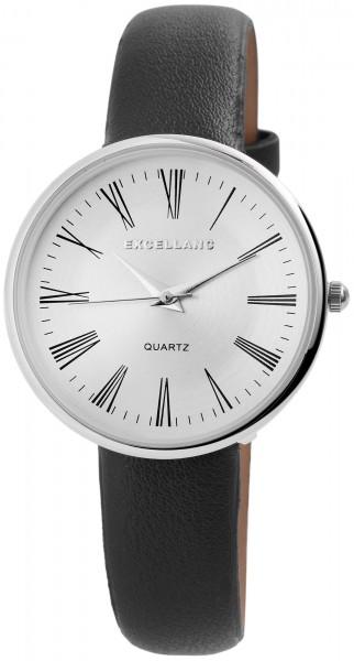 Excellanc Damen-Uhr Lederimitat Dornschließe Rund Klassisch Analog Quarz 1900118