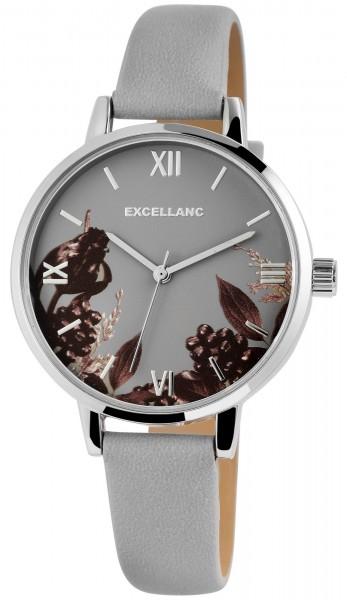 Excellanc Damen-Uhr Lederimitat Dornschließe Blumen Analog Quarz 1900215