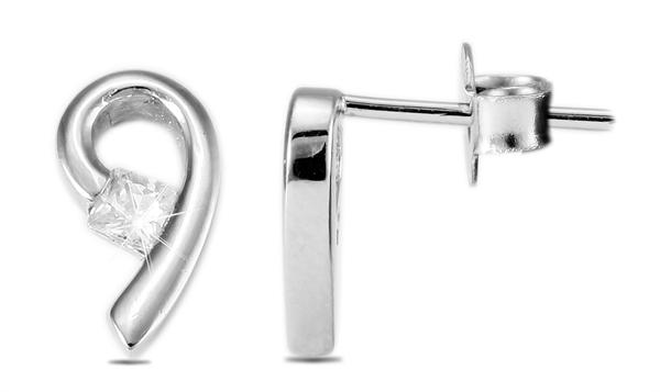 Giulia Luna Damen – Ohrringe 925er Silber rhodiniert Ohrstecker Strass GL5200048