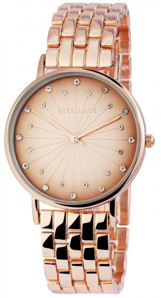 Excellanc Damen Uhr Gliederarmband Metall Strass Clipverschluss Analog Quarz 1800169