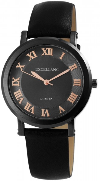 Excellanc Damen-Uhr Lederimitat Dornschließe Rund Elegant Analog Quarz 1900102
