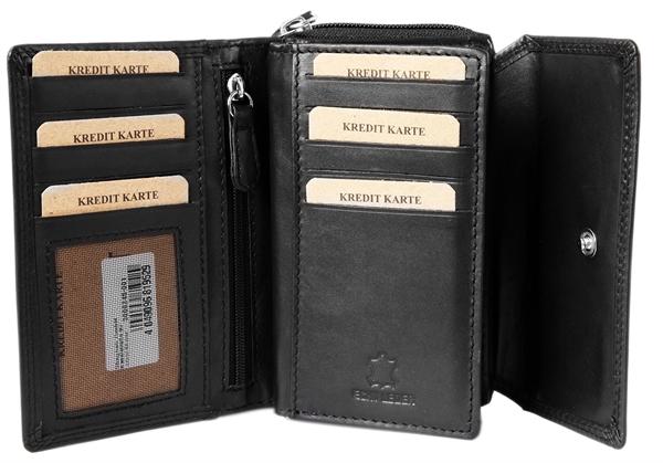 Akzent Damen - Geldbörse Echt Leder Portemonnaie Querformat 14 x 10 cm 3000245