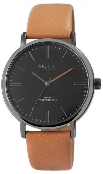 Akzent Exclusive Herren-Uhr Lederimitat Armbanduhr Elegant Analog Quarz 2900202