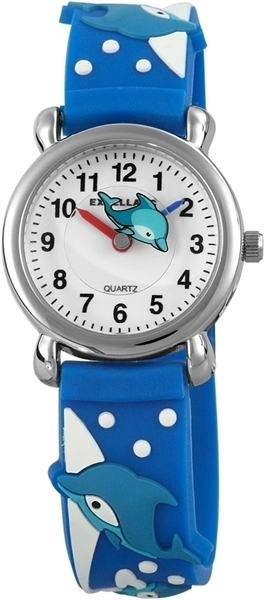 Excellanc Kinder-Uhr Silikonarmband Dornschließe Lernuhr Analog Quarz 4500021