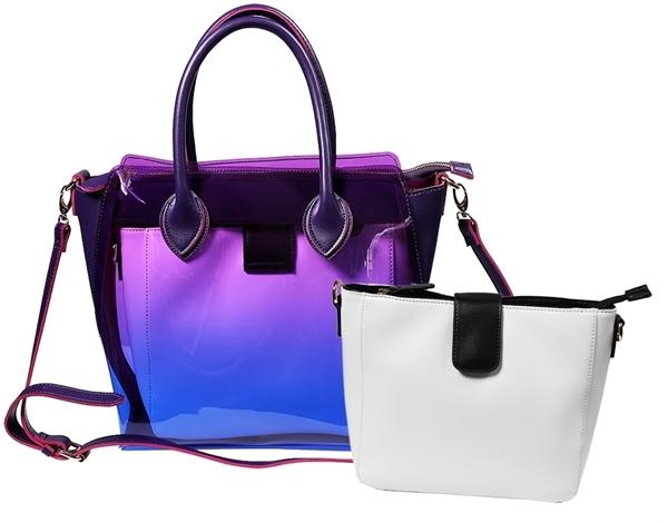 Fancery Tasche 2-in-1 Lila Pink Weiß Transparent