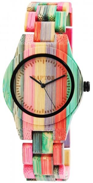 Raptor Damen-Holz Uhr Bambus mehrfarbig Analog Quarz RA10188