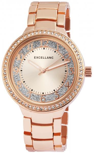 Excellanc Damen-Uhr Leuchtzeiger Clipverschluss Glitzer Strass Analog Quarz 1800120