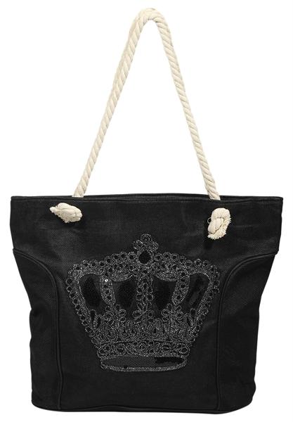 Damen Shopper / Strandtasche Textilstoff 43x35x20 cm - 3600001