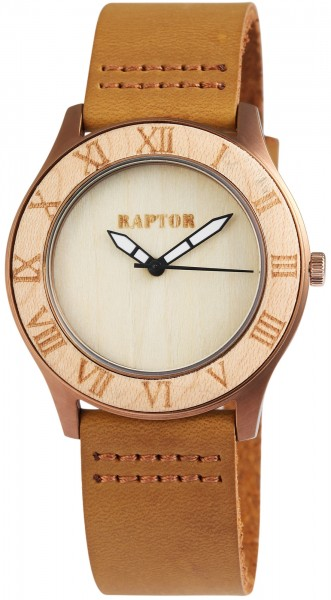 Raptor Damen-Uhr Echtlederarmband Leuchtzeiger Dornschließe analog Quarz RA10026
