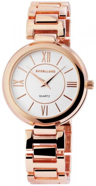 Excellanc Damen-Uhr Metallarmband Faltschließe Rund Analog Quarz 100082