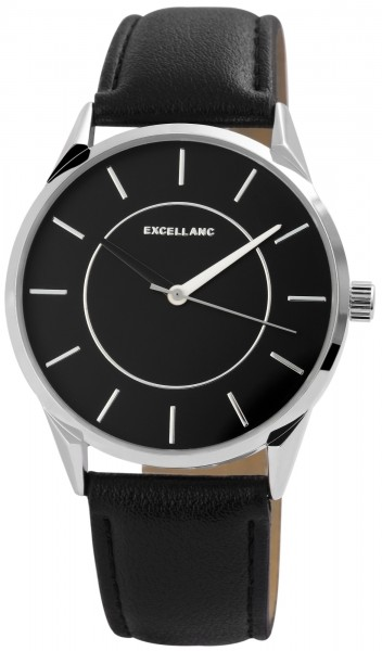 Excellanc Herren-Uhr Lederimitat Dornschließe Analog Quarz 2900107