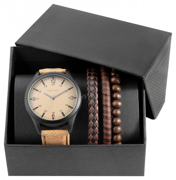 Alain Miller Herren - Geschenkset Armbanduhr Armbänder Analog Quarz 2900186