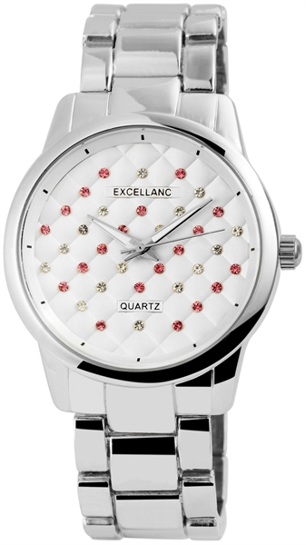 Excellanc Damen – Uhr Metallband Crystal Besatz Analog Quarz 1800129