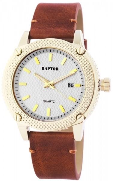 Raptor Herren - Uhr Oberseite Echtleder Datum Quarz Analog RA20074