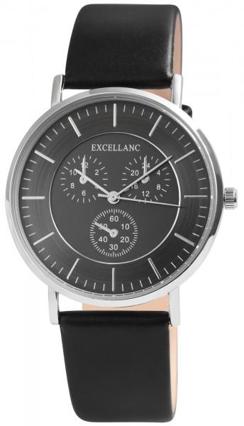 Excellanc Herren-Uhr Lederimitat Dornschließe Analog Quarz 2900130