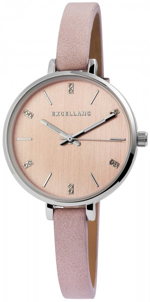 Excellanc Damen-Uhr Lederimitat Dornschließe Strass Analog Quarz 1900155