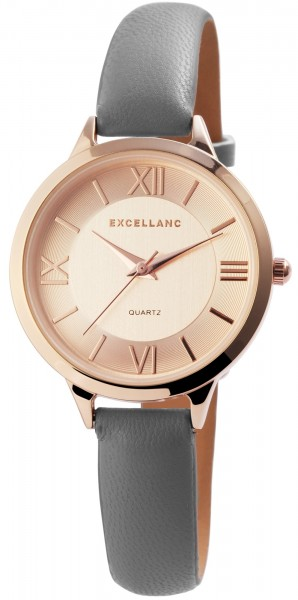 Excellanc Damen-Uhr Lederimitat Dornschließe Rund Elegant Analog Quarz 1900120