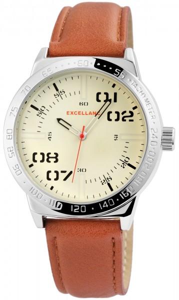 Excellanc Herren-Uhr Lederimitat Dornschließe Analog Quarz 2900089