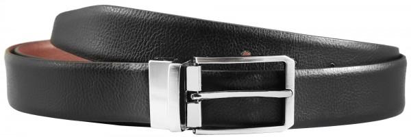 Leonardo Verrelli Echt Leder Gürtel, Büffelleder, beidseitig tragbar mit drehbarer Schließe, schwarz