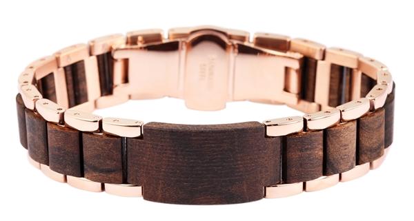 Raptor Unisex-Armband Edelstahl Holzelemente Faltschließe Natur Trend RA50035