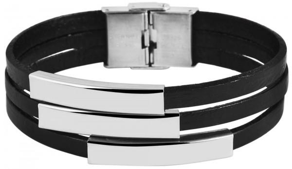 Akzent -Armband Gravur Edelstahl Echt Leder 5040066