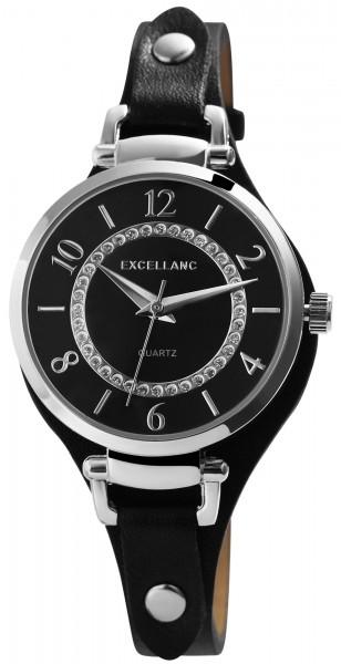 Excellanc Damen-Uhr Unterlegband Lederimitat Dornschließe Analog Quarz 1900239