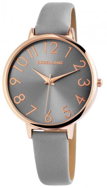 Excellanc Damen-Uhr Lederimitat Dornschließe Rund Analog Quarz 1900210